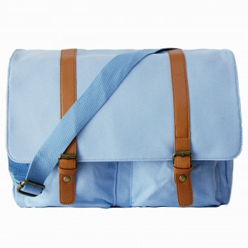 L1418 - Miss Lulu Unisex Canvas Messenger Bag Blue