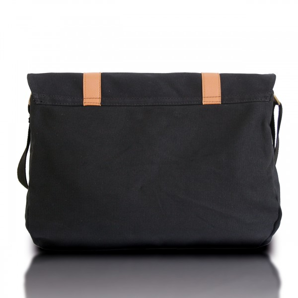 L1418 - Miss Lulu Unisex Canvas Messenger Bag Black