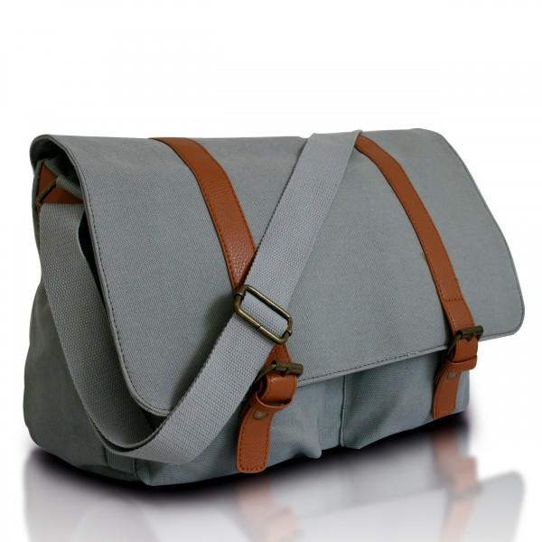 L1418 - Miss Lulu Unisex Canvas Messenger Bag Grey