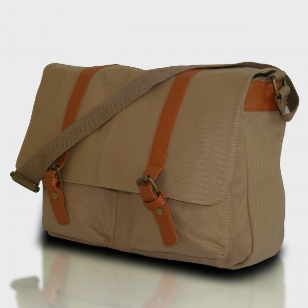 L1418 - Miss Lulu Unisex Canvas Messenger Bag Khaki