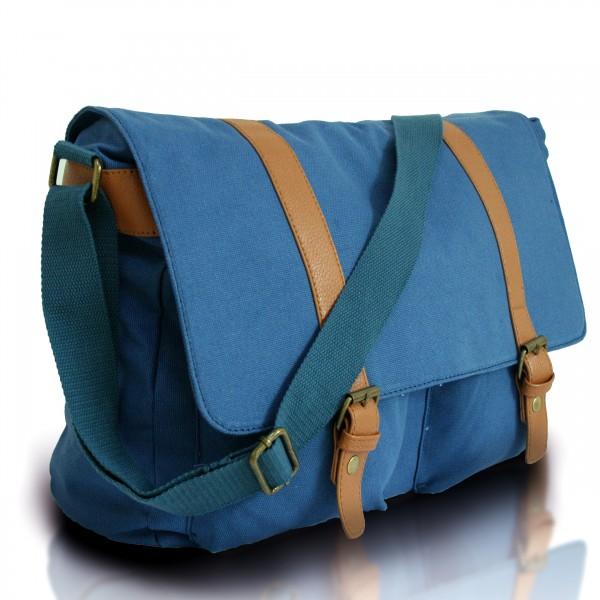 L1418 - Miss Lulu Unisex Canvas Messenger Bag Navy