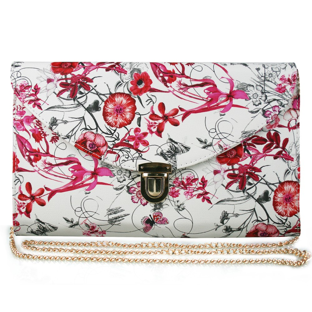L1420 - Miss Lulu Floral Fashion Envelope Clutch Bag Red