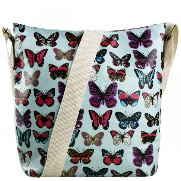 L1425B - Miss Lulu Oilcloth Square Bag Butterfly Blue