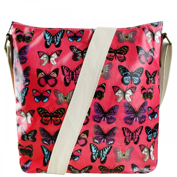 L1425B - Miss Lulu Oilcloth Square Bag Butterfly Plum