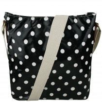 L1425D - Miss Lulu Oilcloth Square Bag Polka Dot Black