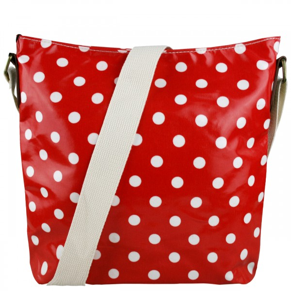 L1425D - Miss Lulu Oilcloth Square Bag Polka Dot Red