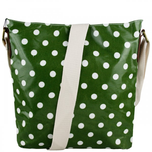 L1425D - Miss Lulu Oilcloth Square Bag Polka Dot Green