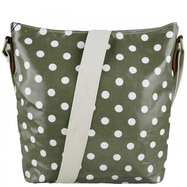 L1425D - Miss Lulu Oilcloth Square Bag Polka Dot Grey