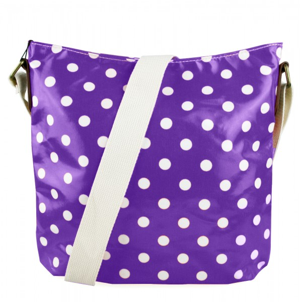 L1425D - Miss Lulu Oilcloth Square Bag Polka Dot Purple