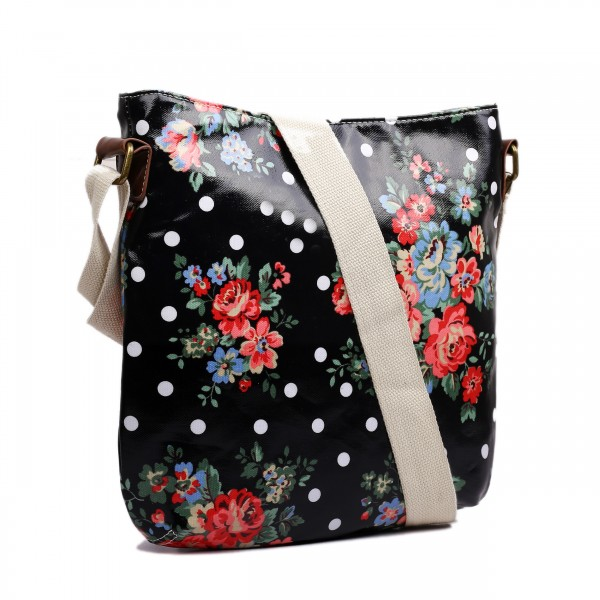 L1425F - Miss Lulu Oilcloth Square Bag Flower Polka Dot Black