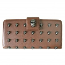 L1426 - Miss Lulu Stylish Leather Look Skull Studded Purse Brown