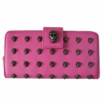 L1426 - Miss Lulu Stylish Leather Look Skull Studded Purse Plum