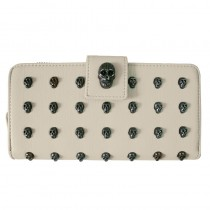 L1426 - Miss Lulu Stylish Leather Look Skull Studded Purse Beige