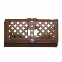 L1427 - Miss Lulu Stylish Leather Look Lazer Cut Purse Brown