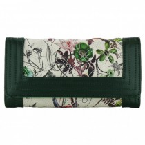 L1428 - Miss Lulu Stylish Leather Look Quilted Flower Purse Green