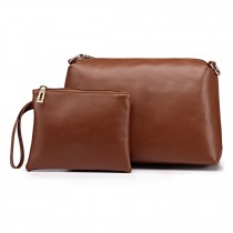 L1435-2 BN - Miss Lulu PU leather 2-pieces Cosmetic Bag Set Brown