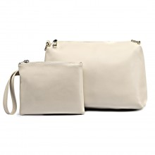 L1435-2 BG - Miss Lulu PU leather 2-pieces Cosmetic Bag Set Beige
