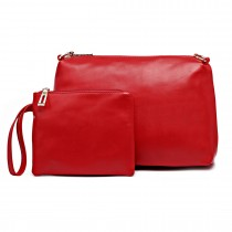 L1435-2 RD - Miss Lulu PU leather 2-pieces Cosmetic Bag Set Red