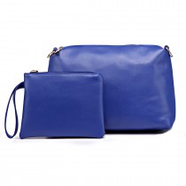 L1435-2 BE - Miss Lulu PU leather 2-pieces Cosmetic Bag Set Blue
