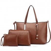 L1435-1 - Miss Lulu Leather Look Large Shoulder 3-in-1 Tote Bag Brown