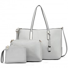 L1435-1 - Miss Lulu Leather Look Large Shoulder 3-in-1 Tote Bag Grey