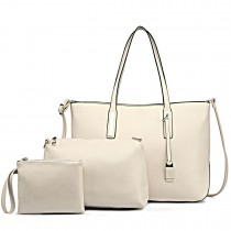 L1435-1 - Miss Lulu Leather Look Large Shoulder 3-in-1 Tote Bag Beige