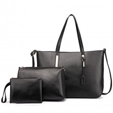 L1435-1 - Miss Lulu Leather Look Large Shoulder 3-in-1 Tote Bag Black