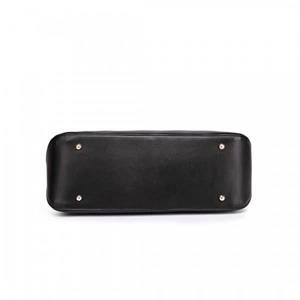 L1435-1 - Miss Lulu Leather Look Large Shoulder 3-in-1 Tote Bag Black