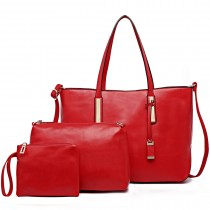 L1435-1 - Miss Lulu Leather Look Large Shoulder 3-in-1 Tote Bag Red