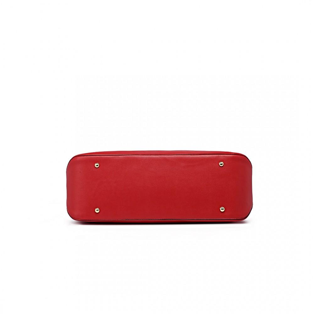 8436616a07 L1435 - Miss Lulu Grand Sac d'épaule fourre-tout en cuir Rouge