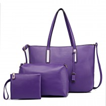 L1435-1 - Miss Lulu Leather Look Large Shoulder 3-in-1 Tote Bag Purple