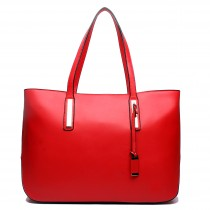 L1435 - Miss Lulu Leather Look Large Shoulder Tote Bag Red