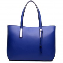 L1435 - Miss Lulu Leather Look Large Shoulder Tote Bag Navy