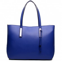 L1435 - Miss Lulu Leather Look Large Shoulder Tote Bag Navy