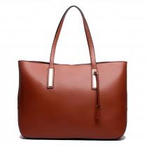 L1435 - Miss Lulu Leather Look Large Shoulder Tote Bag Brown