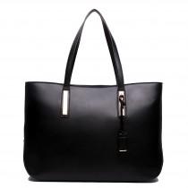 L1435 - Miss Lulu Leather Look Large Shoulder Tote Bag Black
