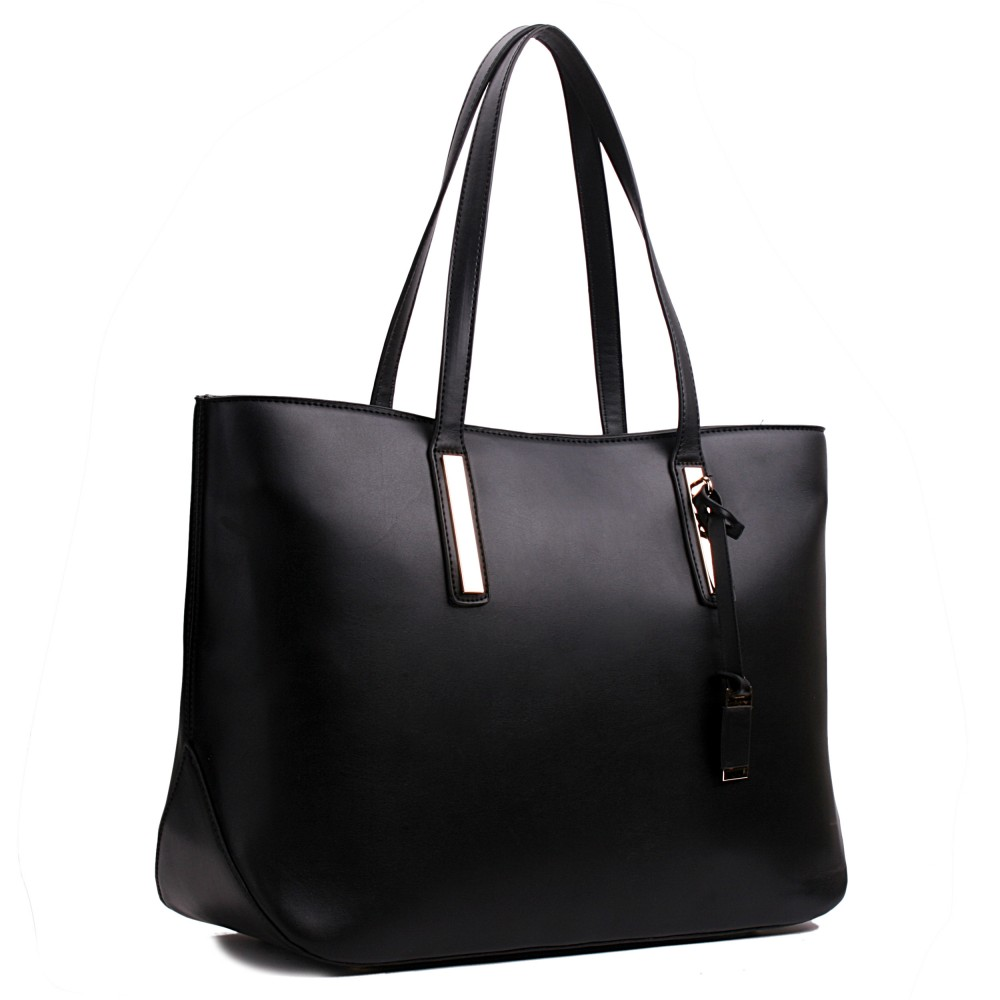 Miss Lulu Leather Look Large Shoulder Tote Bag Black