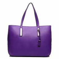 L1435 - Miss Lulu Leather Look Large Shoulder Tote Bag Purple