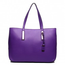 L1435 - Miss Lulu Leather Look Large Shoulder Tote Bag Purple