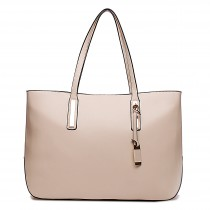 L1435 - Miss Lulu Leather Look Large Shoulder Tote Bag Beige