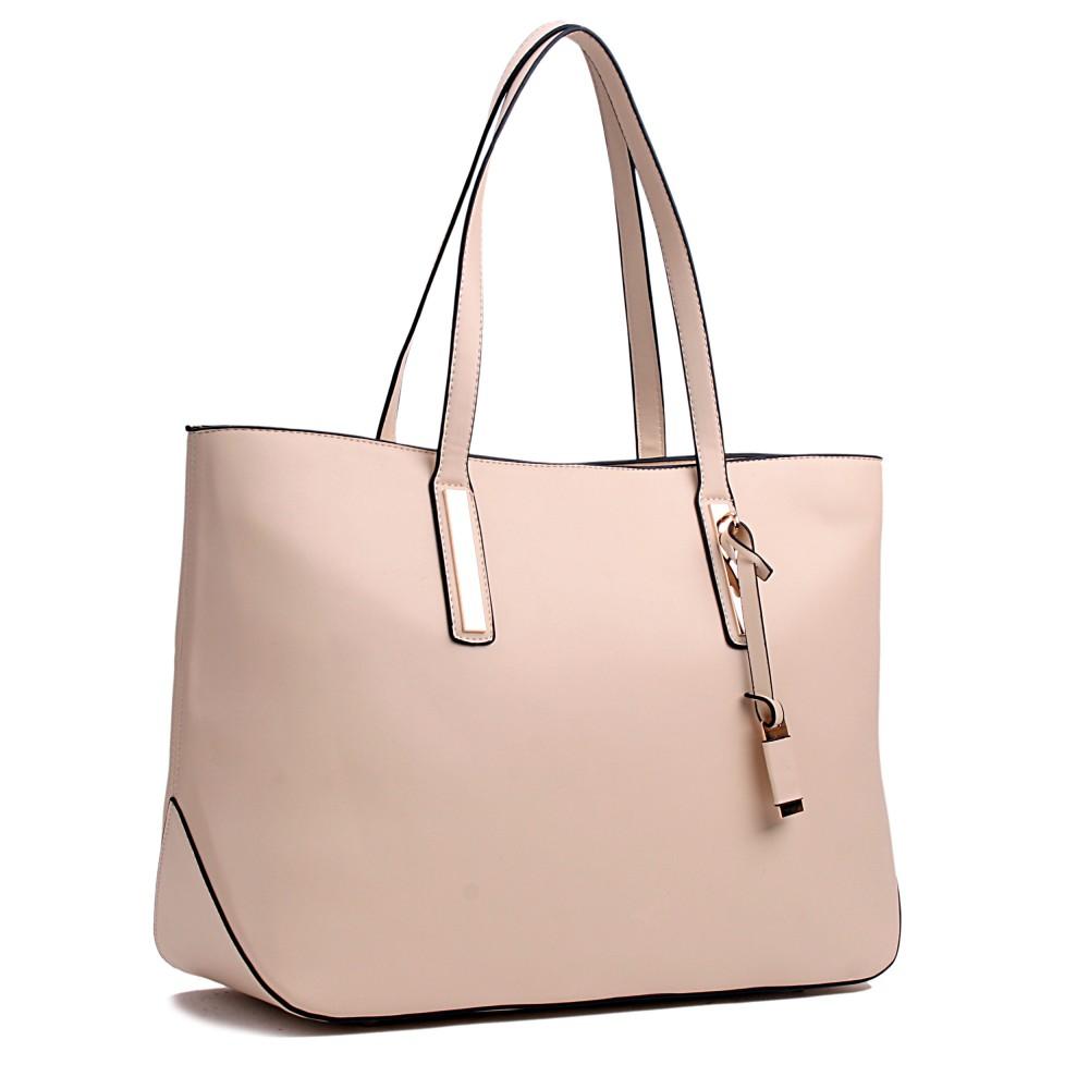 Miss Lulu Leather Look Large Shoulder Tote Bag Beige