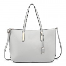 L1435 - Miss Lulu Leather Look Large Shoulder Tote Bag Grey