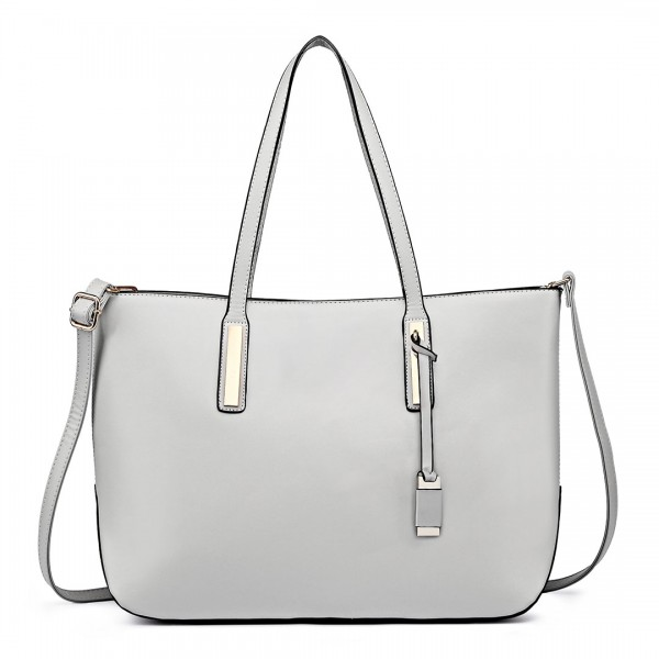 L1435 - Miss Lulu Leather Look Large Shoulder Tote Bag Grey