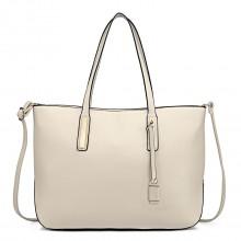 L1435 - Miss Lulu Leather Look Large Shoulder Tote Bag - Beige