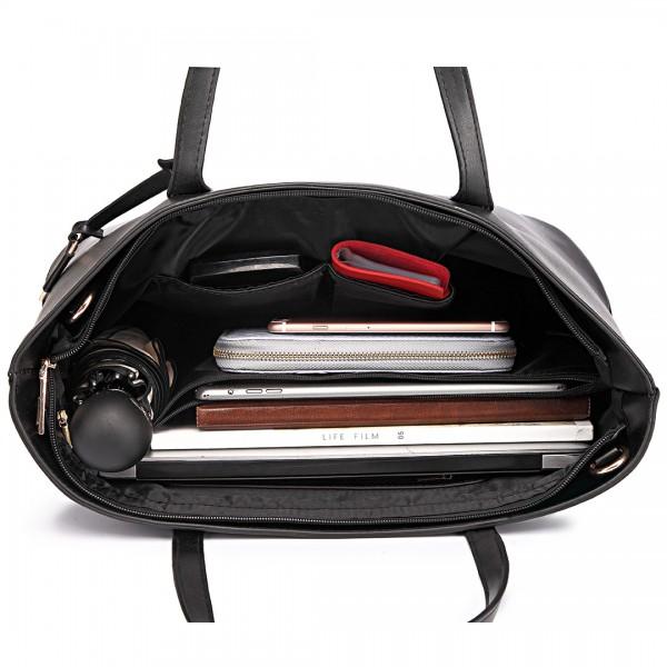 L1435 - Miss Lulu Leather Look Large Shoulder Tote Bag - Black