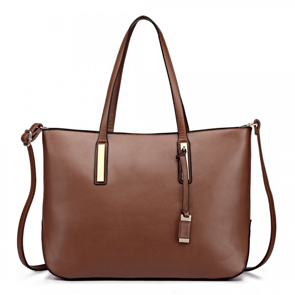 L1435 - Miss Lulu Leather Look Large Shoulder Tote Bag - Brown