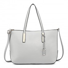 L1435 - Miss Lulu Leather Look Large Shoulder Tote Bag - Grey