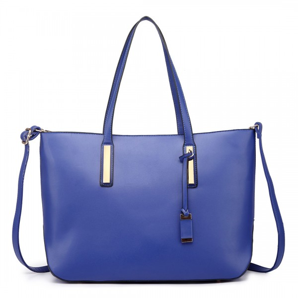 L1435 - Miss Lulu Leather Look Large Shoulder Tote Bag - Navy