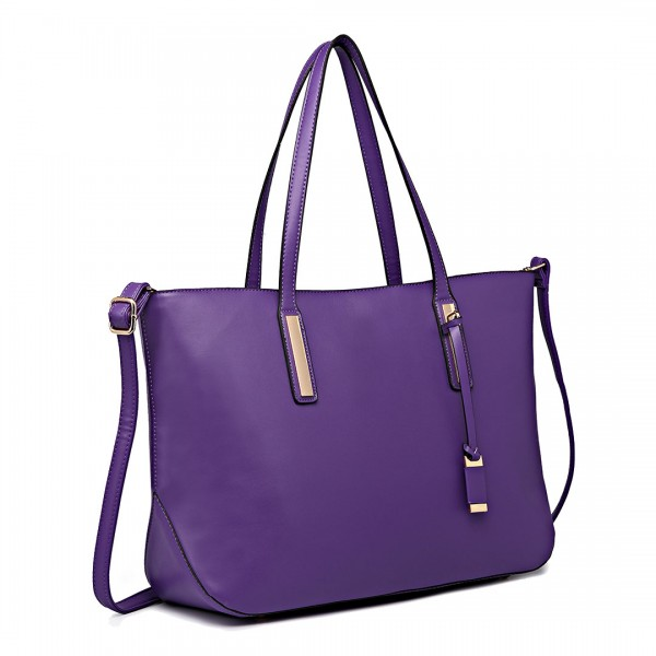 L1435 - Miss Lulu Leather Look Large Shoulder Tote Bag - Purple