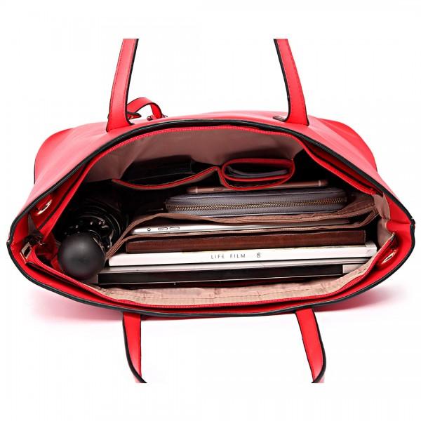 L1435 - Miss Lulu Leather Look Large Shoulder Tote Bag - Red